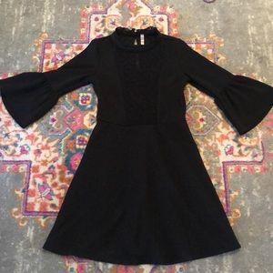 Bell sleeve high collar little black dress XS